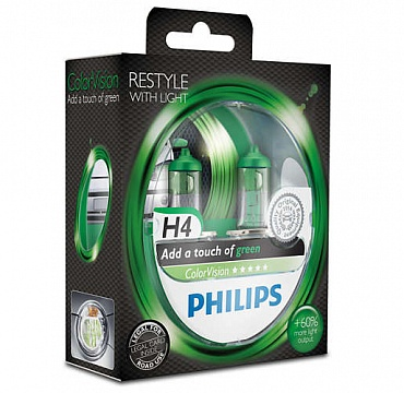 Philips ColorVision H4 зеленый свет 12342CVPGS2 - 1
